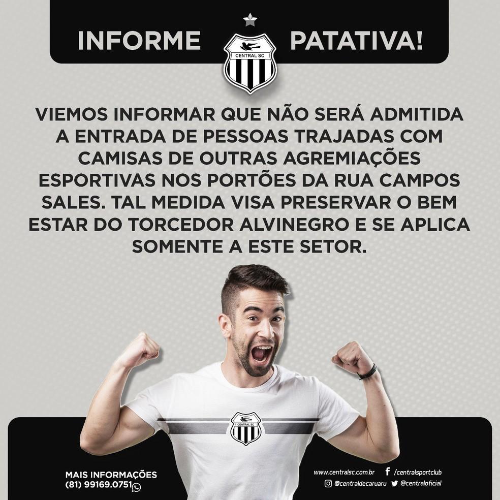 Central proibiu o uso de uniformes de outros times (Foto: Central / Divulgação )
