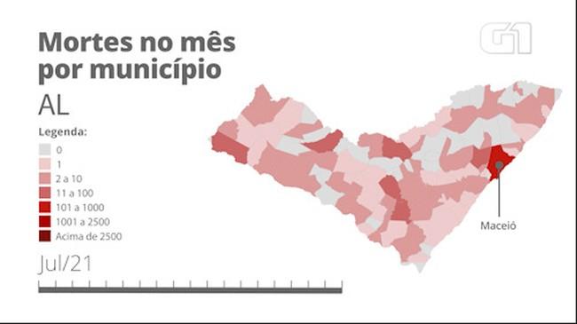 AL: mortes por Covid por município mês a mês