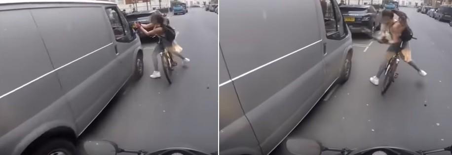 Revoltada com o assédio, a ciclista arrancou um dos retrovisores