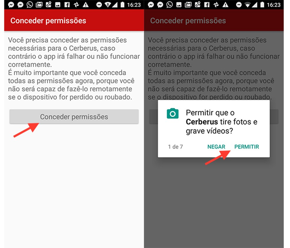 Ações para conceder permissões do sistema Android ao app Cerberus (Foto: Reprodução/Marvin Costa)