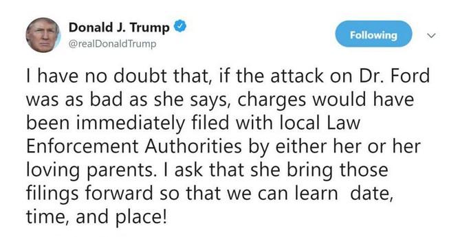 O post de Donald Trump questionando as denúncias feitas pela vítima do juiz indicado por ele (Foto: Twitter)