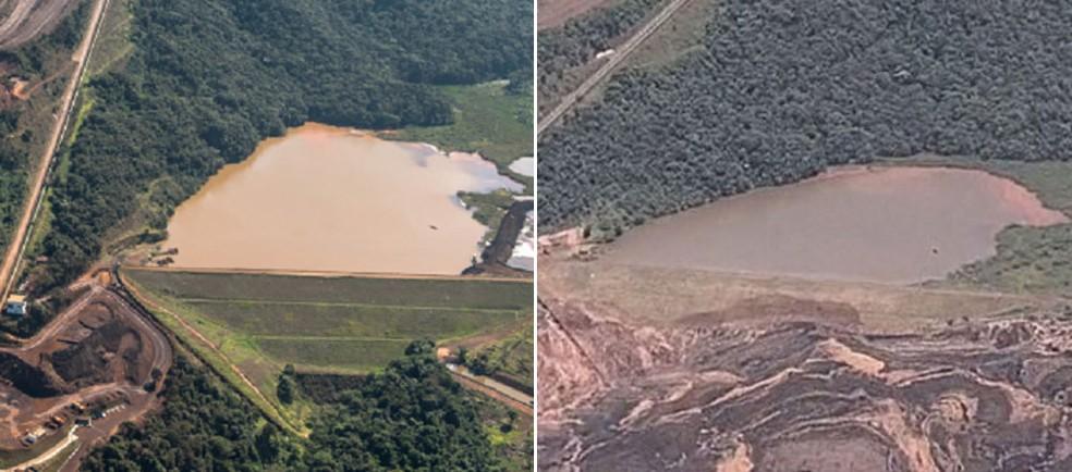 Imagem à esquerda mostra a barragem 6 do Córrego do Feijão antes do rompimento da barragem 1; à direita, a barragem 6 após o incidente. Moradores saíram da região por perigo de novo rompimento, desta vez da barragem 6 — Foto: Reprodução