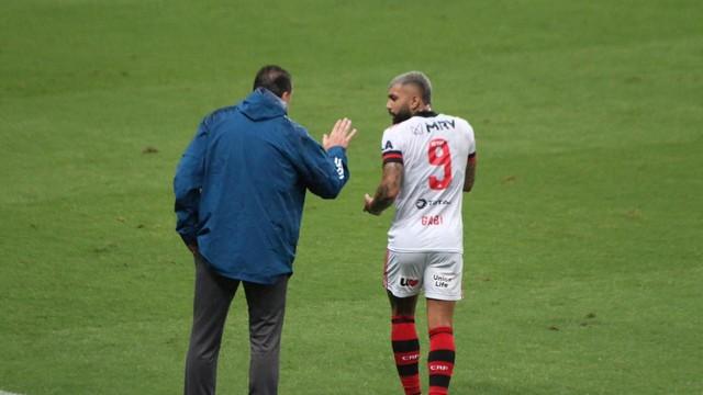 Rogério Ceni e Gabigol em Grêmio x Flamengo