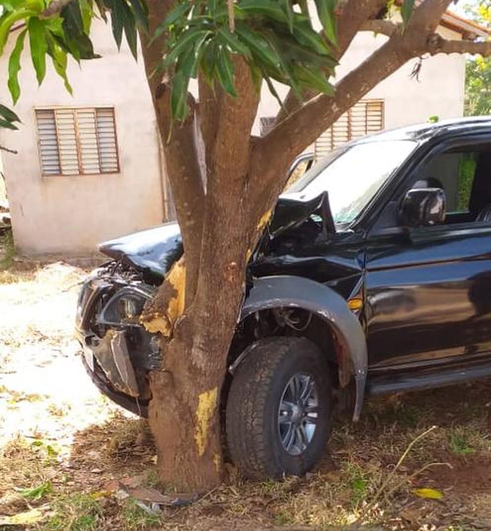 Motorista perdeu o controle da caminhonete e bateu em uma árvore após os tiros — Foto: Divulgação