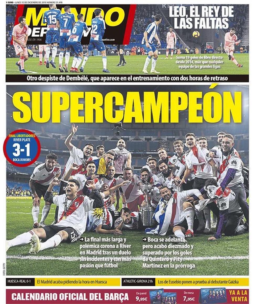 Manchete do Mundo Deportivo após final da Libertadores — Foto: Reprodução / Mundo Deportivo
