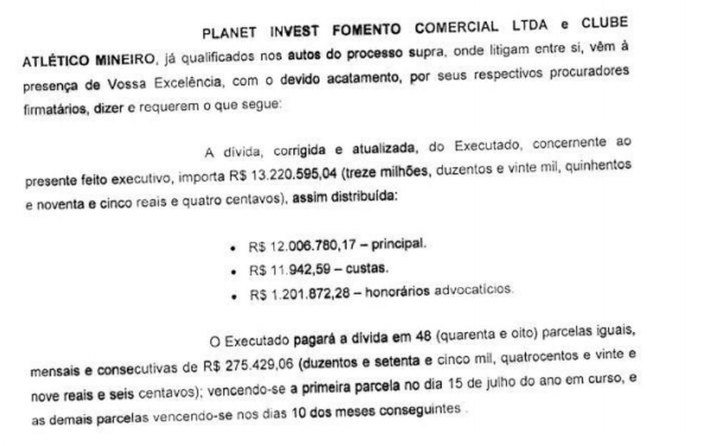 Acordo entre Atlético e a empresa de Assis que recebia direito de imagem e comissões — Foto: Reprodução