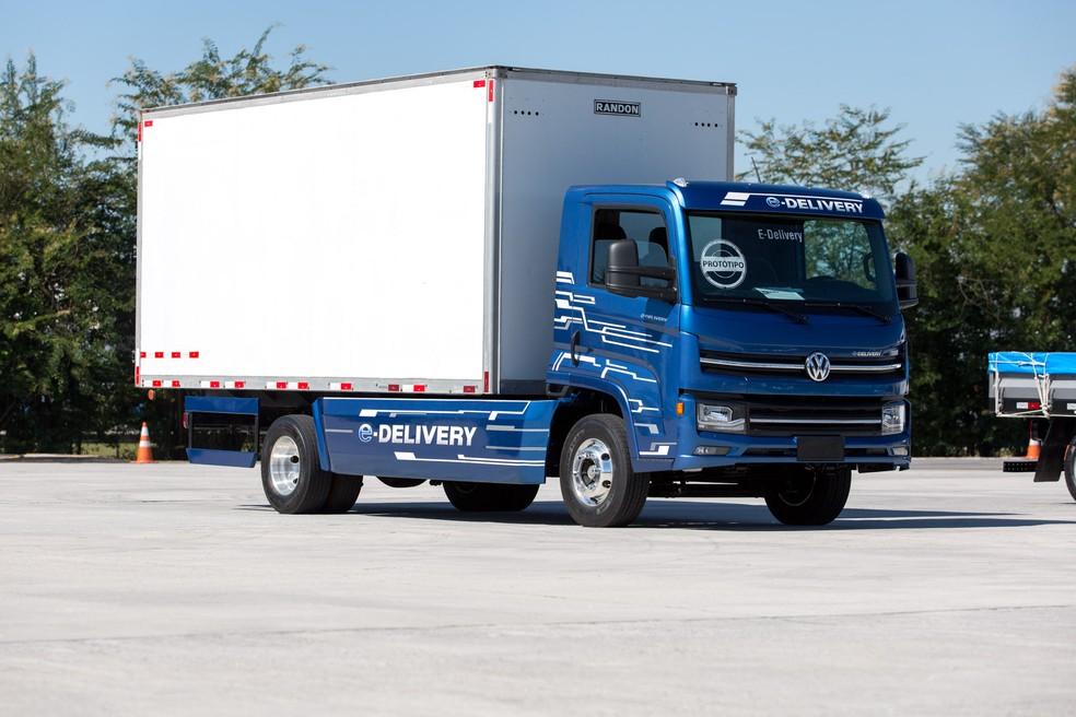 O caminhão elétrico da Volkswagen, o e-Delivery (Foto: Marcelo Brandt / G1)