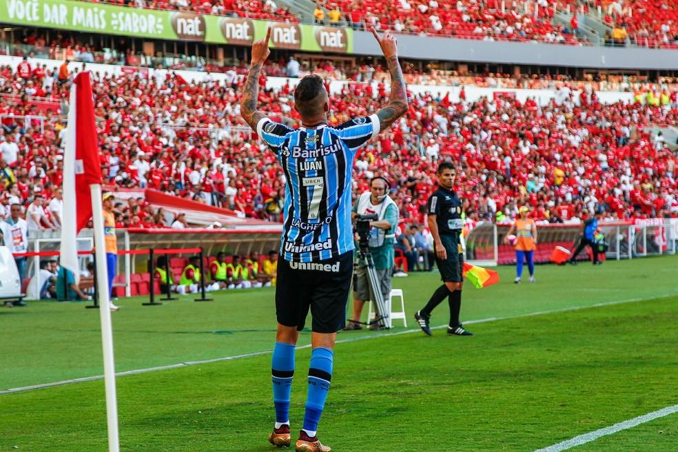 Luan foi o nome do Gre-Nal do domingo passado, com dois gols (Foto: Lucas Uebel/Divulgação Grêmio)