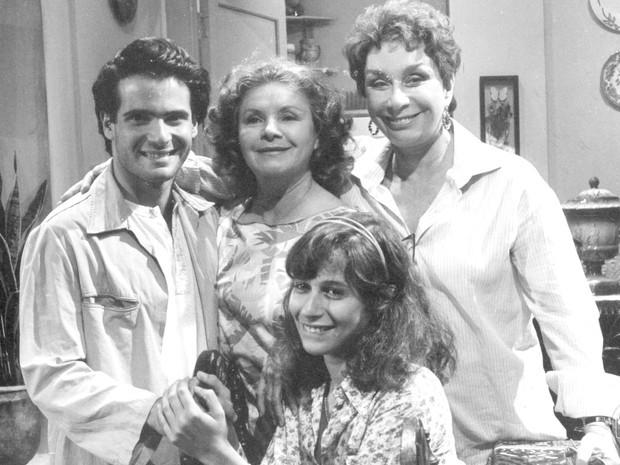 Lauro Corona, Eloísa Mafalda, Renata Fronzi e Andréa Beltrão em Corpo a Corpo (1984) (Foto: Divulgação/TV Globo)