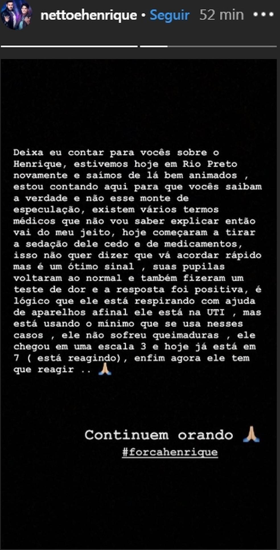 Nota foi publicada na página do Instagram da dupla sertaneja Netto e Henrique  — Foto: Reprodução/Instagram