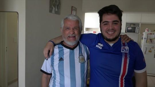 Argentino que escolheu a Islândia para torcer sofre ao lado do pai durante jogo entre as seleções