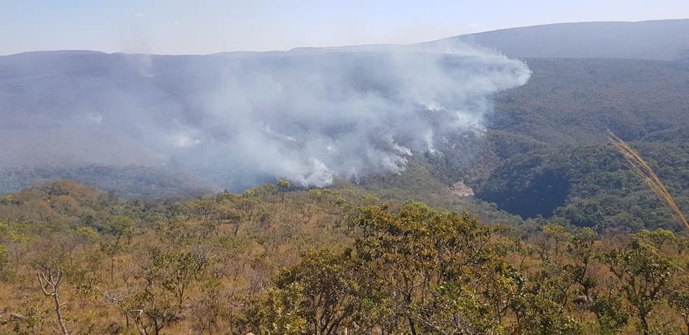 Incêndio no Parque Estadual Serra de Santa Bárbara (MT) teve início há 11 dias (Foto: Sema-MT)