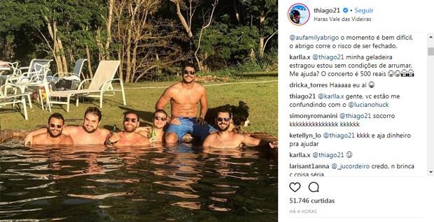 Thiago Magalhães responde internauta (Foto: Reprodução/Instagram)