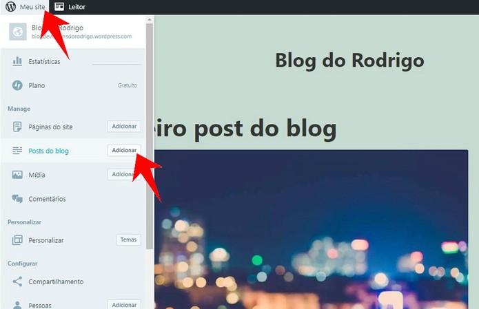 Acesse o menu do WordPress para publicar novos textos (Foto: Reprodução/Rodrigo Fernandes)