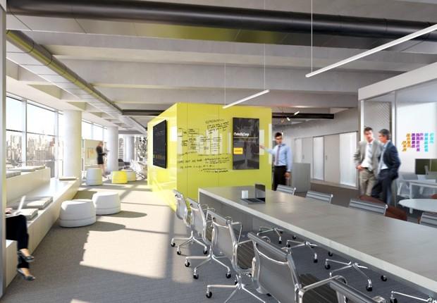 Projeção de interior do escritório do banco C6, de ex-sócios do BTG (Foto: Reprodução/Medium/C6Bank)