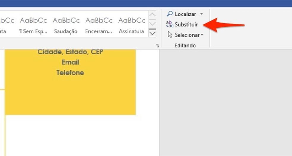 Ação para abrir a ferramenta de substituição do Microsoft Word — Foto: Reprodução/Marvin Costa