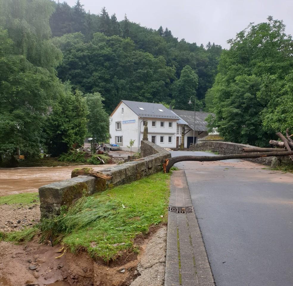 Catarinense fez imagens na quinta-feira (15) da cidade atingida por fortes chuvas — Foto: Roselene Kunz Reischel/Arquivo Pessoal