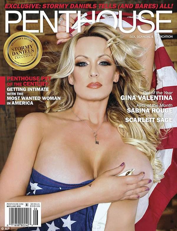 A atriz pornô Stormy Daniels na capa da revista Penthouse (Foto: Divulgação)