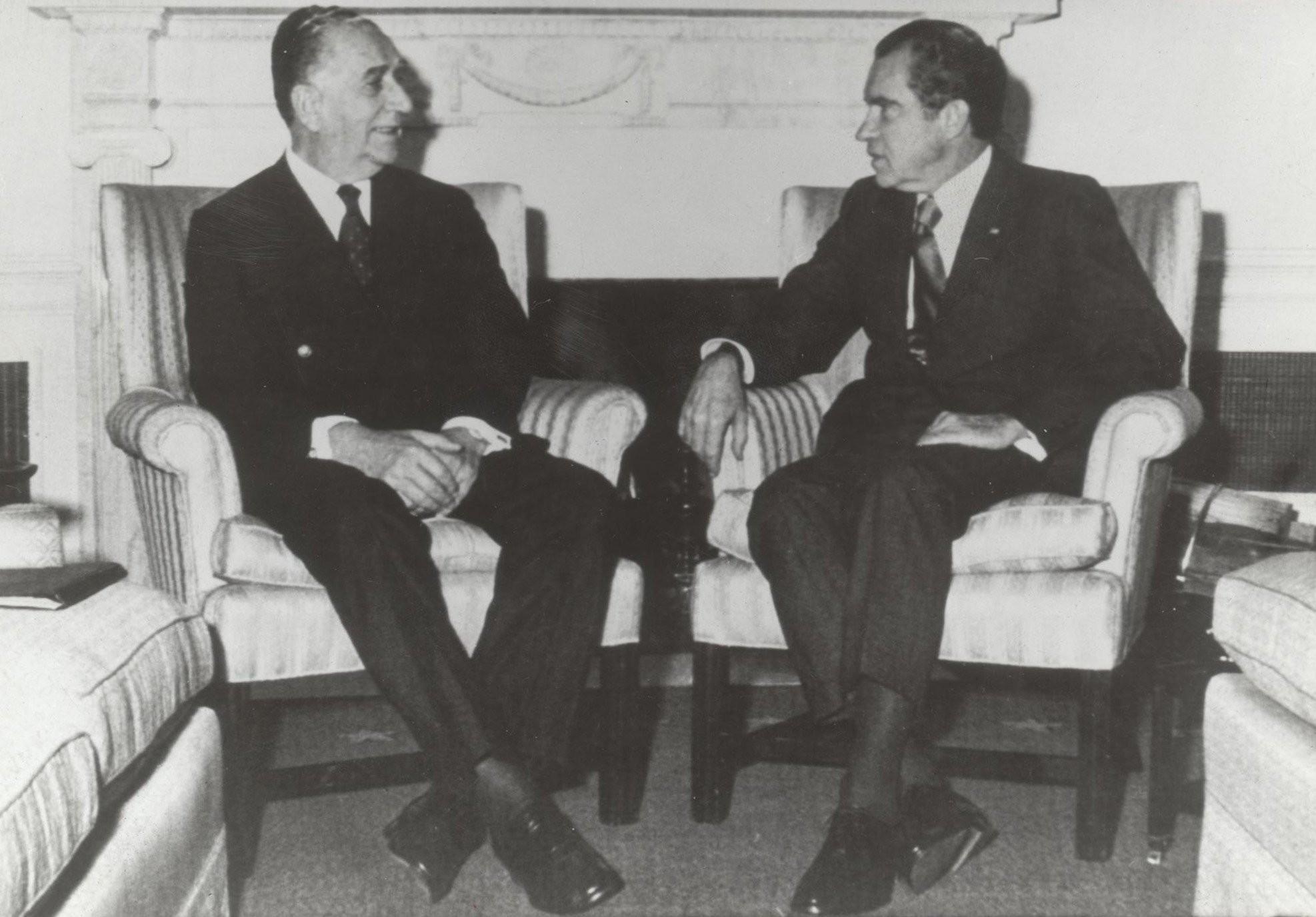 Emílio Garrastazu Médici com Richard Nixon na Casa Branca, em dezembro de 1971