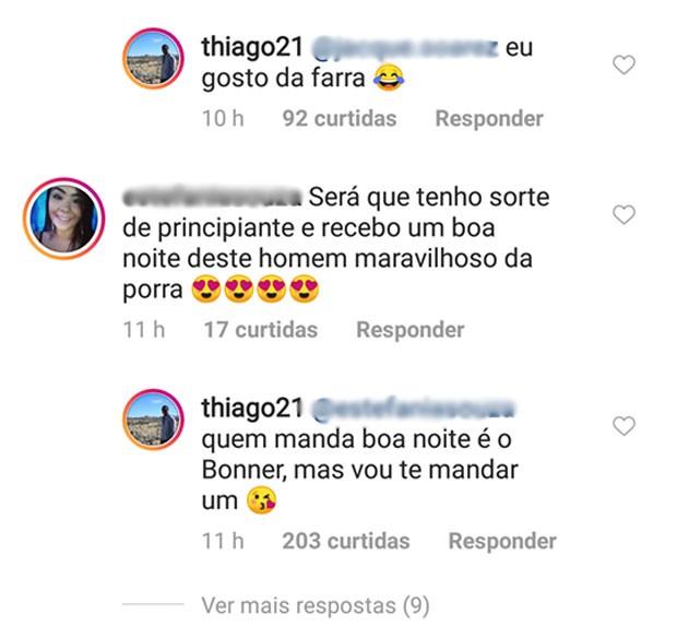 Thiago Magalhães troca comentários com fãs (Foto: Reprodução)