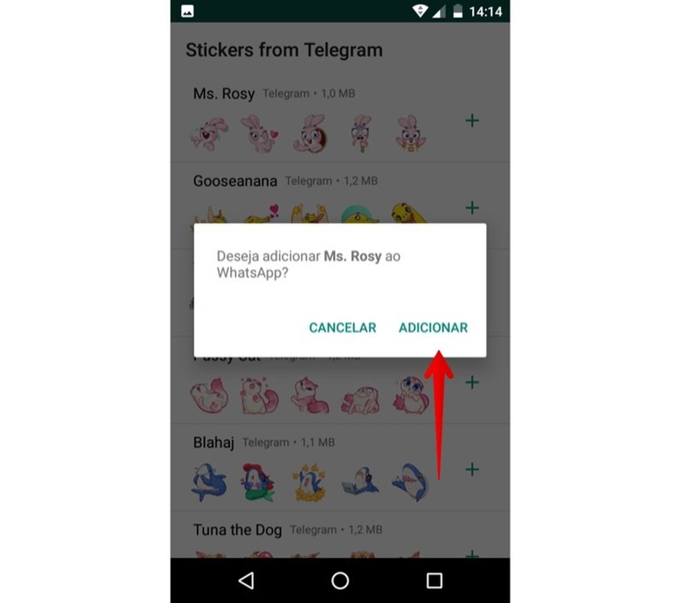 Confirme a instalação das figurinhas no Android — Foto: Reprodução/Helito Beggiora