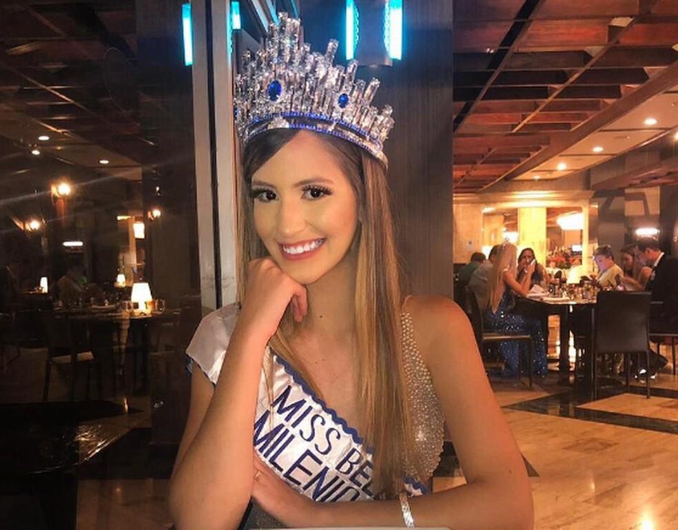 Paraibana foi eleita Miss Beleza Milênio Internacional 2019, na República Dominicana, no Caribe — Foto: Denise Vitória/Arquivo Pessoal