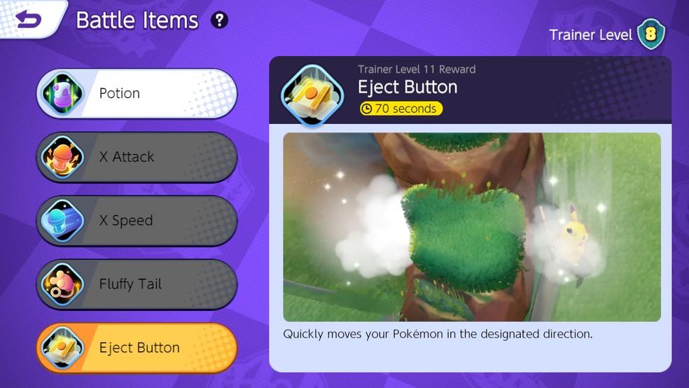 Já o Eject Button é um dos Battle Itens indicados para o Pikachu se movimentar pelo mapa em Pokémon Unite — Foto: Reprodução/Bruna Telles