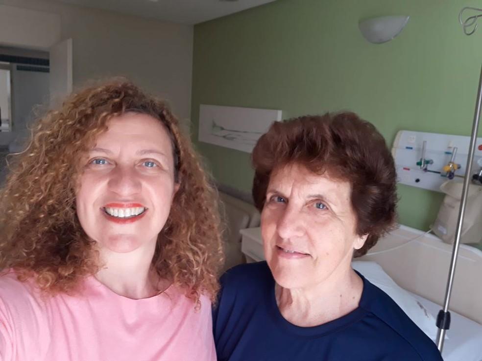 No Hospital Thereza Mussi em Pato Branco, antes de Iolanda ir para a cirurgia — Foto: Audmara Veronese/ Arquivo pessoal