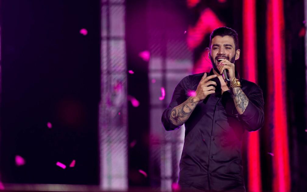 Gusttavo Lima levantou a arena no segundo fim de semana da Festa do Peão de Barretos 2017 (Foto: Mateus Rigola/G1)