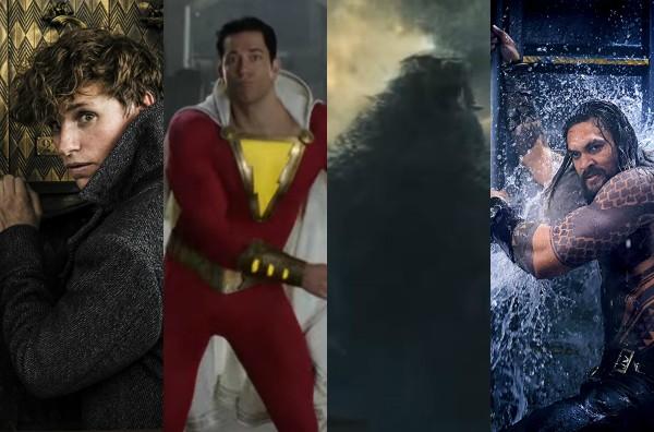 Animais Fantásticos, Shazam, Godzilla e Aquaman (Foto: Divulgação/Reprodução)