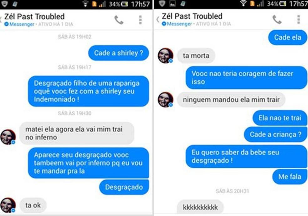 José Santos conversa por mensagens com amiga de Shirley Souza dizendo que matou a namorada porque ela o traiu — Foto: Reprodução/Redes sociais