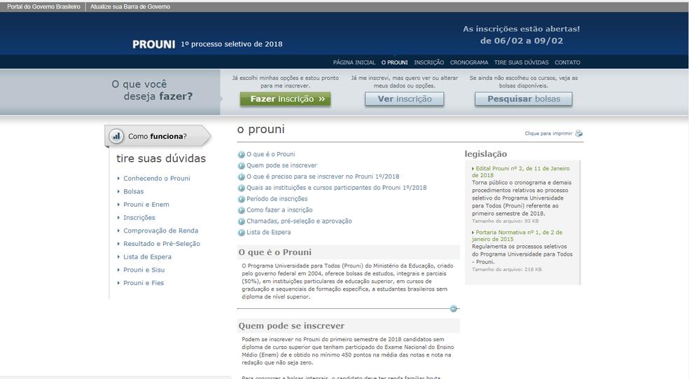 Inscrições no Prouni seguem até a próxima sexta-feira (9)  (Foto: Reprodução/Portal do Prouni)