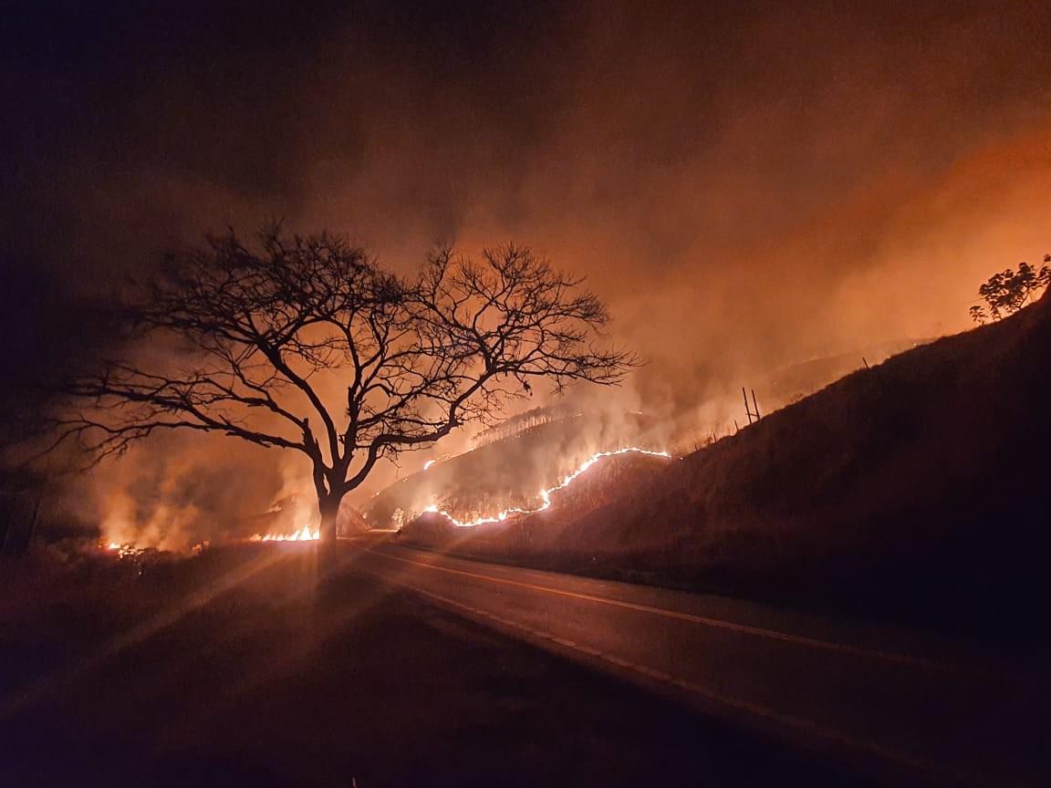 Incêndio atinge área de mais de 15 mil metros às margens da rodovia Guará-Cunha