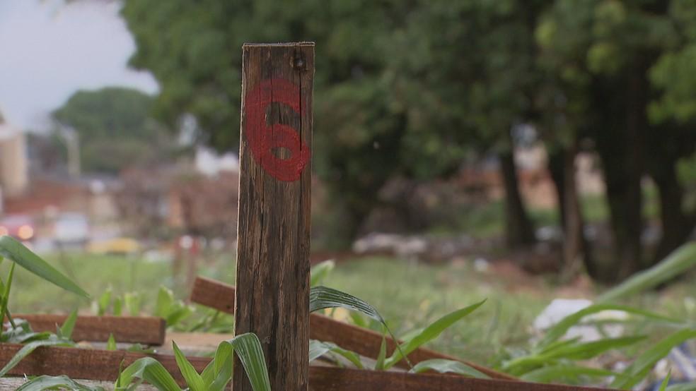 Estaca usada para demarcar parcelamento de terreno irregular no P-Sul, em Ceilândia, região administrativa do DF — Foto: TV Globo/Reprodução