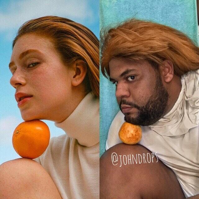 John Drops imita a pose de Marina Ruy Barbosa no editorial que recheia a Vogue Brasil de março (Foto: reprodução/Instagram)