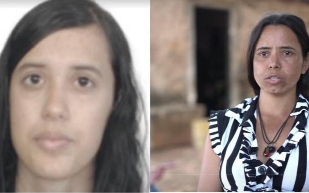 À esquerda a viúva de Lázaro, Ellen Vieira, e à direita a ex-mulher Luana Evangelista — Foto: Fantástico/Reprodução