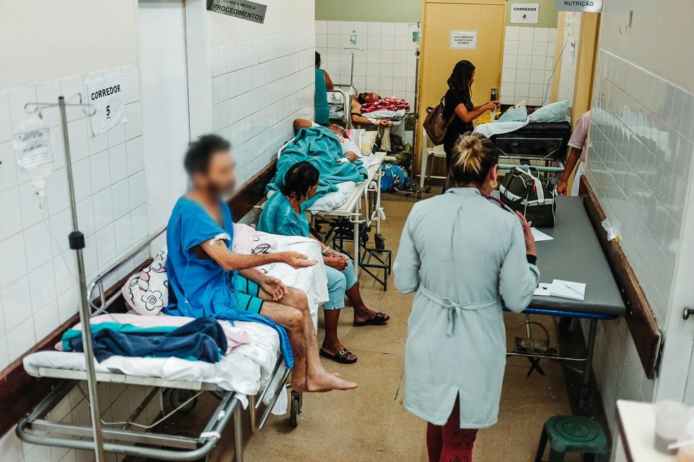Imagens mostram superlotação no Hospital Regional de Ceilândia — Foto: Jr. Rosa/Deputado Leandro Grass