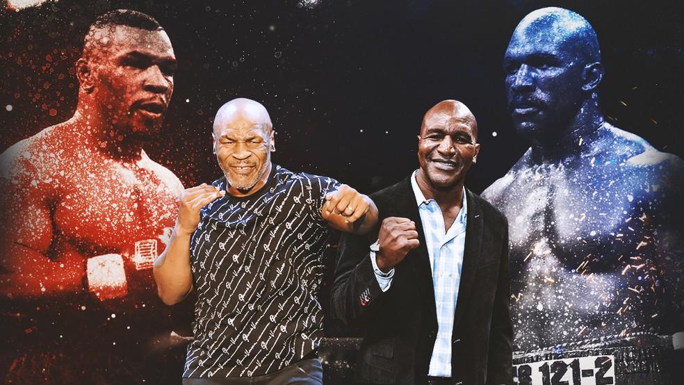 Mike Tyson x Evander Holyfield - boxe — Foto: Arte GloboEsporte.com
