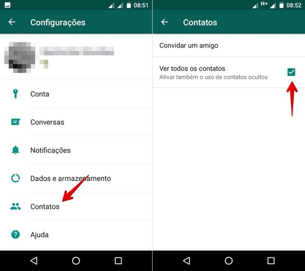Forçando atualização da lista de contatos no WhatsApp para Android (Foto: Reprodução/Helito Bijora)
