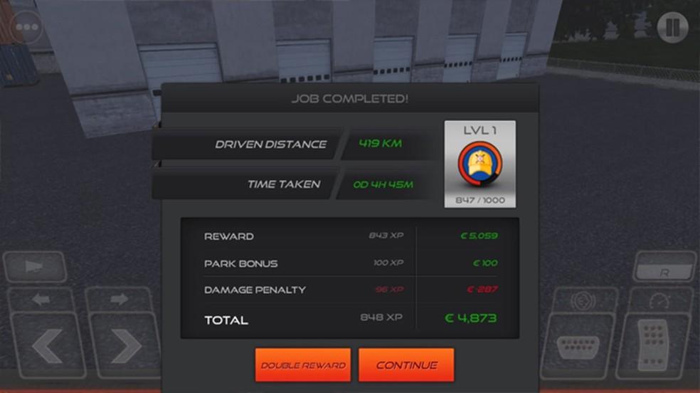 Ao final de uma entrega em Simulador de Caminhão: Europa 2 é possível dobrar sua recompensa ao assistir um anúncio — Foto: Reprodução/Rafael Monteiro