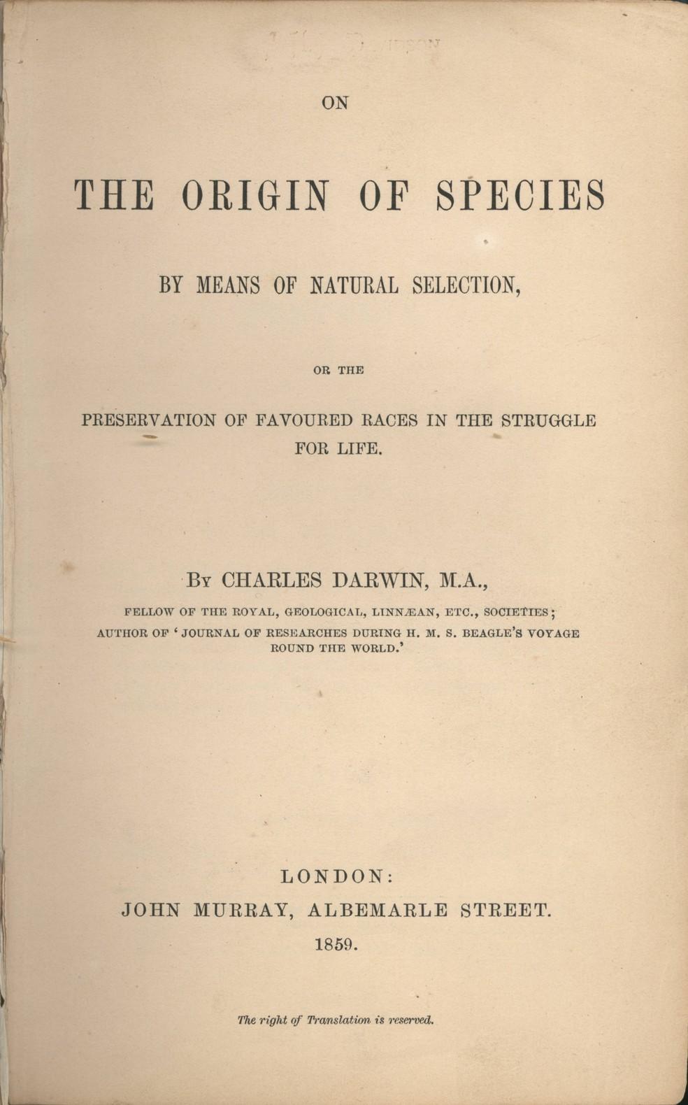 Página do livro 'A Origem das Espécies', do biólogo e naturalista inglês Charles Darwin — Foto: Domínio público