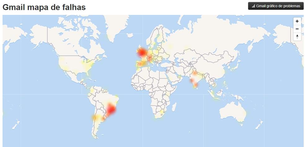 Mapa de problemas do Gmail concentra reclamações no Brasil — Foto: Reprodução/TechTudo