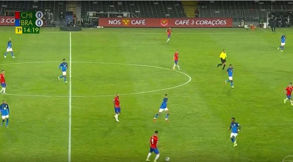 Vinicius Junior na linha defensiva, com Isla à sua frente: jogador do Real Madrid pouco passou da linha do meio de campo — Foto: Reprodução