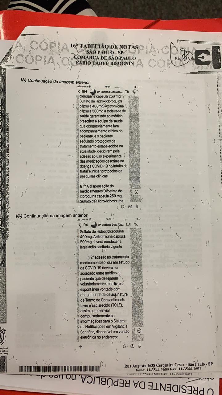 Terceira página da ata notorial entregue por Nise Yamaguchi à CPI da Covid no Senado