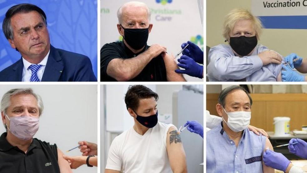 Maioria dos líderes tomaram vacinas e compartilharam as imagens — Foto: Reuters, Governo do Reino Unido, Reprodução/Via BBC