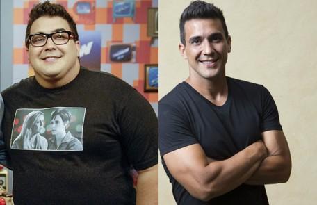 André Marques no 'Video show' em 2013 e no 'É de casa'. Ele perdeu mais de 70kg Rafael Sorín/TV Globo e Leo Martis