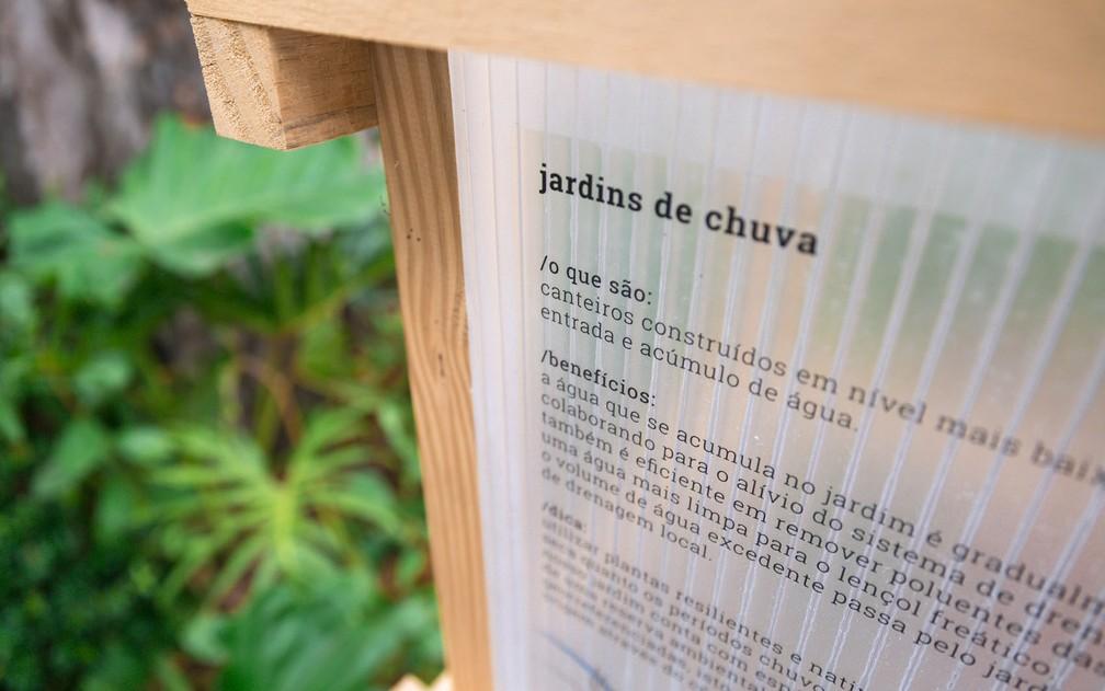 Detalhe do projeto da calçada da Casa Cor. Jardim de chuva ainda é técnica inovadora no Brasil (Foto: Marcelo Brandt/G1)