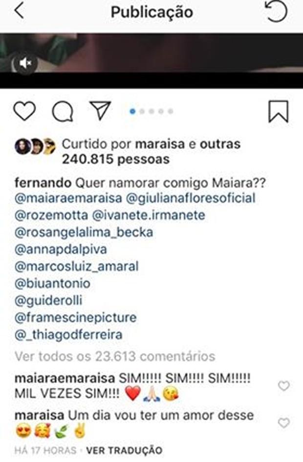 Publicação de Maiara e Fernando (Foto: Reprodução/Instagram)