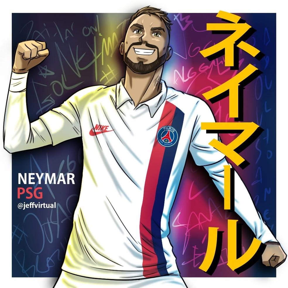 Neymar também já foi alvo de homenagem de Jeff Araújo — Foto: @jeffvirtual