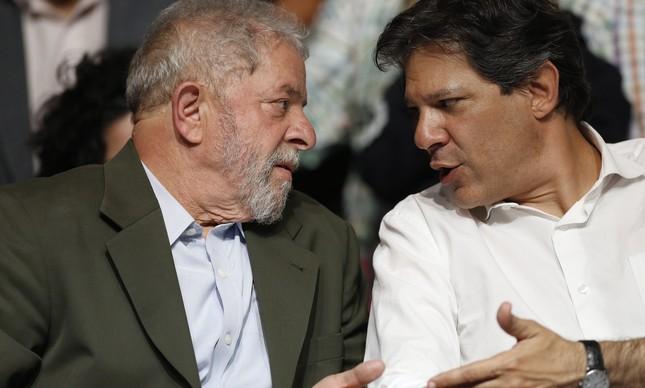 Lula e Haddad na campanha de 2016